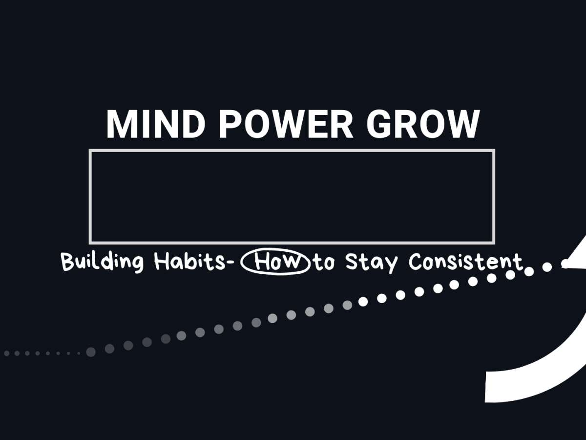 Mind Power Grow. Building Habits - How to Stay Consistent with dots leading upward and an upward arrow.