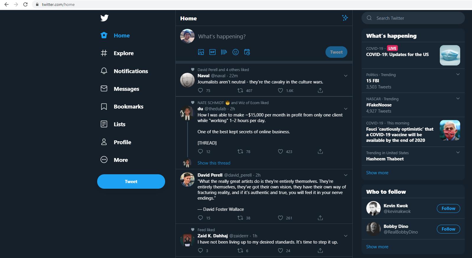 Screenshot of a twitter.com account
